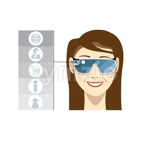 Virtual reality glasses on a smiling female head with brown hair with apps and functions icons on a white background, digital vector image Stock Vector