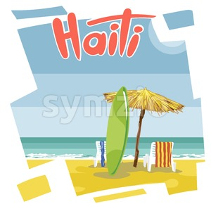 Haiti beach flyer with a green surfing board, an umbrella from hay and beach chairs with towels Stock Vector