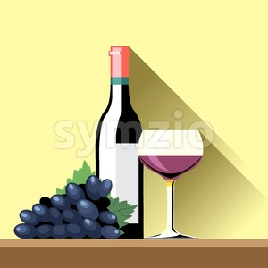 A glass and bottle of red whine and a blue ripe grape with green leaves on a brown surface and a yellow background, digital vector image Stock Vector