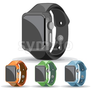 A set of black, orange, green and blue smart watches on a white background, digital vector image Stock Vector
