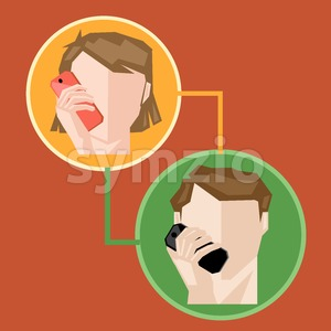 A female and a male in circle chatting via mobile phone, over a brown background, digital vector image Stock Vector