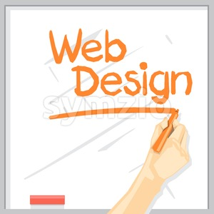 A hand with shadow drawing on a white table with orange color marker, web design inscription with underline, digital vector image Stock Vector