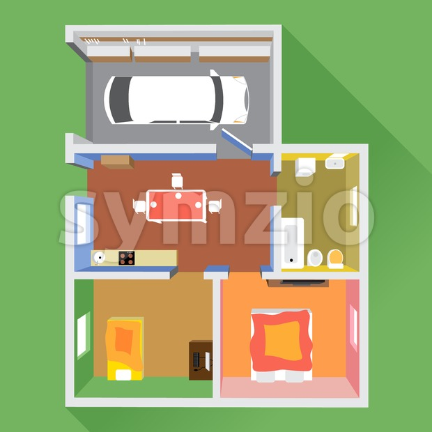 A house in section with a car in garage, a bathroom, a kitchen and 2 living rooms, top view, over a green background, digital image vector Stock Vector