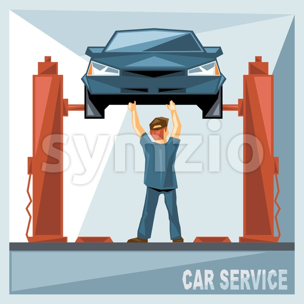 A mechanic in blue suit fixing a blue car in car service, over silver background, digital vector image Stock Vector