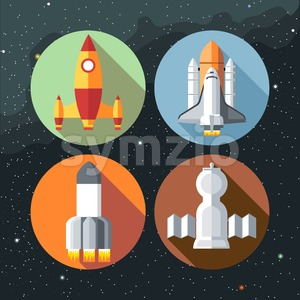Spaceships icons collection with shuttles and rockets. Digital vector image. Stock Vector