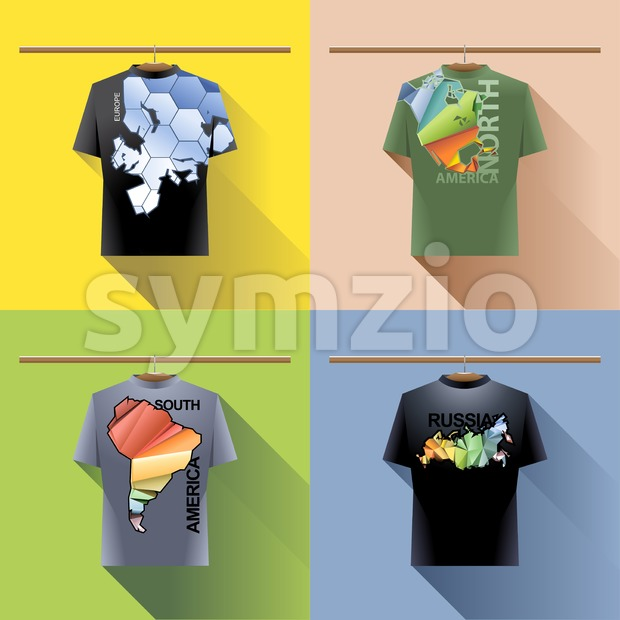 Shirt collection set with colored logo with triangles and text on hanger in wardrobe. Europe, north and south america, russia. Digital vector image Stock Vector