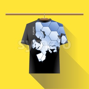 Abstract black shirt with europe blue logo with hexagon cells and text on a hanger in wardrobe over yellow background. Digital vector image Stock Vector