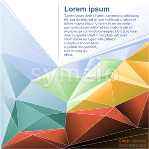 Abstract background flyer for print with text, lines and colored triangle shapes. Digital vector image. Stock Vector