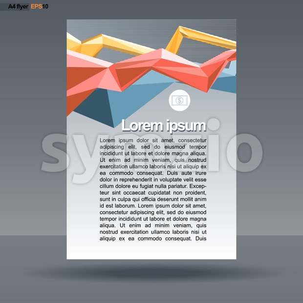 Abstract print A4 design with colored lines for flyers, banners or posters, with money icon, over silver background. Digital vector image. Stock Vector