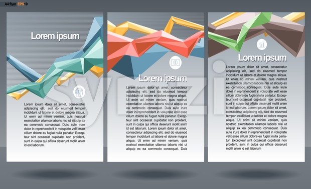 Abstract print A4 design in 3 parts, with colored lines for flyers, banners or posters, with money, map and chart icons, over silver background. Stock Vector