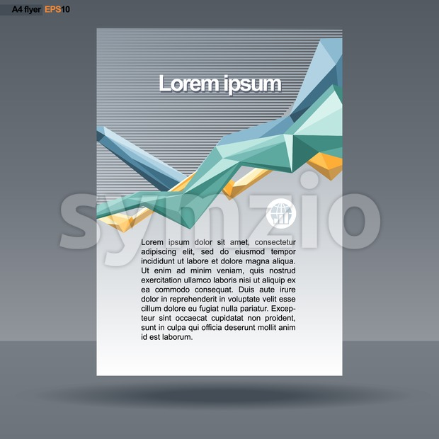 Abstract print A4 design with colored lines for flyers, banners or posters, with world map icon, over silver background. Digital vector image. Stock Vector