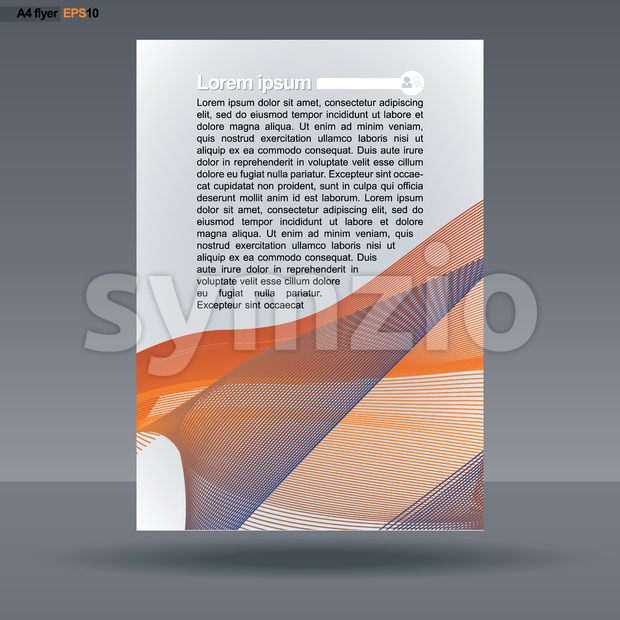 Abstract print A4 design with colored lines for flyers, banners or posters, with people icon, over silver background. Digital vector image. Stock Vector