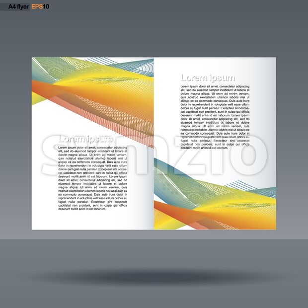 Abstract print A4 design with colored lines for flyers, banners or posters over silver background. Digital vector image. Stock Vector