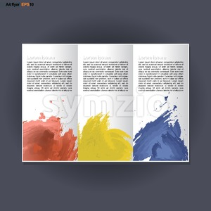 Abstract print A4 in 3 parts design with blue, red and yellow brush strokes, for flyers, banners or posters over silver background. Digital vector Stock Vector