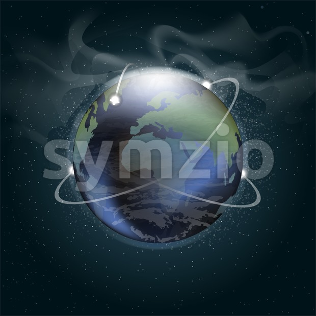 Big planet earth seen from space in 3d with trajectories of satellites orbiting, over a background full of glowing stars. Digital vector image Stock Vector