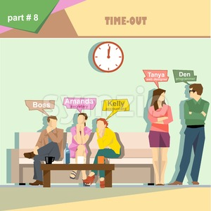Business company roles situation infographics with boss, secretary, accountant, programmer and web designer having a break at work. Digital vector Stock Vector
