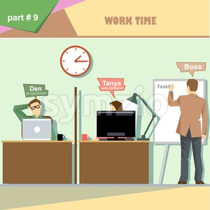 Business company roles situation infographics with boss making a presentation at the white board for programmer and web designer at work. Digital Stock Vector