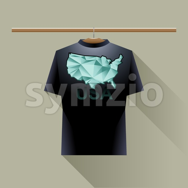 Black shirt with green usa logo country on a hanger in wardrobe over brown background. Digital vector image. Stock Vector