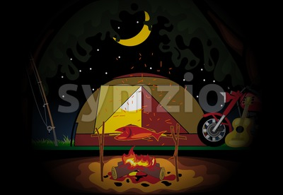 Camping celebration at night with a tent in the middle of wild nature. Digital vector image Stock Vector