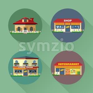 Houses and buildings set flat style. Living, shop, supermarket, coffee. Digital vector image Stock Vector
