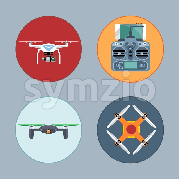 Drone set flat style. Remote controled copter, mobile phone, control board. Digital vector image Stock Vector