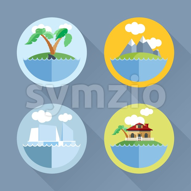 Islands set flat style. Palm tree, ship, mountains, house. Digital vector image Stock Vector