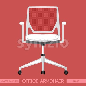 White modern office armchair over red background. Digital vector image Stock Vector