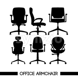 Black modern office armchair set, in outlines, over white background. Digital vector image Stock Vector