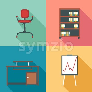 Modern office rurniture set, in outlines. Digital vector image Stock Vector