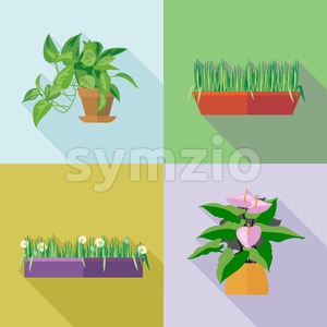 Home decorative flowers icons set. Digital vector image Stock Vector
