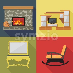 Fireplace home decoration icon set, flat style. Digital vector image Stock Vector