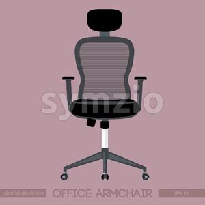 Black modern office armchair over pink background. Digital vector image Stock Vector