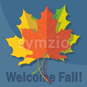 Orange, yellow and green oak leaves in autumn over blue background. Digital vector image Stock Vector