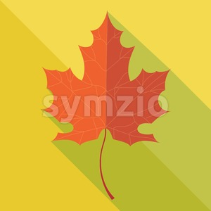 Orange oak leaf in autumn over yellow background. Digital vector image Stock Vector