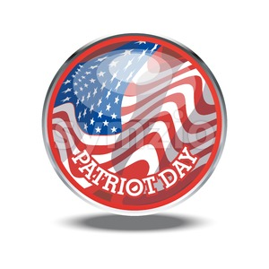 Patriot day card with the flag of unites states of america in a silver circle. Digital vector image Stock Vector