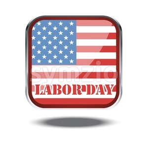 Labor day card with the flag of unites states of america in a silver square. Digital vector image Stock Vector