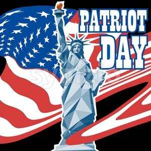 Patriot day card with the flag of unites states of america and statue of liberty. Digital vector image Stock Vector