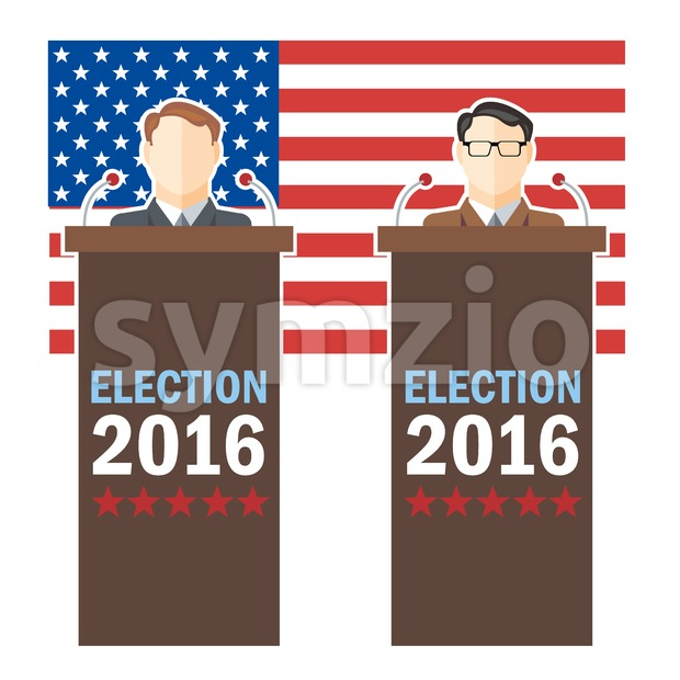 Usa 2016 election card with country flag and candidates character at the tribune. Digital vector image Stock Vector