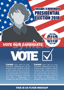 Usa 2016 election a4 flyer mockup with country map, vote checkbox and female candidate. Digital vector image Stock Vector