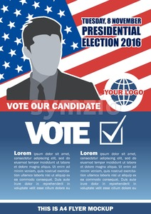 Usa 2016 election a4 flyer mockup with country map, vote checkbox and male candidate. Digital vector image Stock Vector