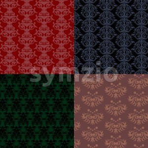Patterns collection, red and green flat style. Digital vector image Stock Vector