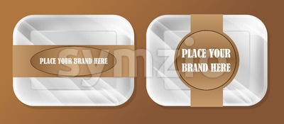 Vector empty white styrofoam plastic food tray container box mockup with ribbon ready for your design, over brown background Stock Vector