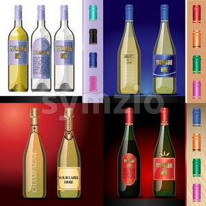 Vector wine bottles mockup with your label here text. Blue, red and white bottle, yellow and red wine. Red, orange, green and pink caps Stock Vector