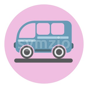 Digital vector blue bus icon on pink circle, flat style. Stock Vector