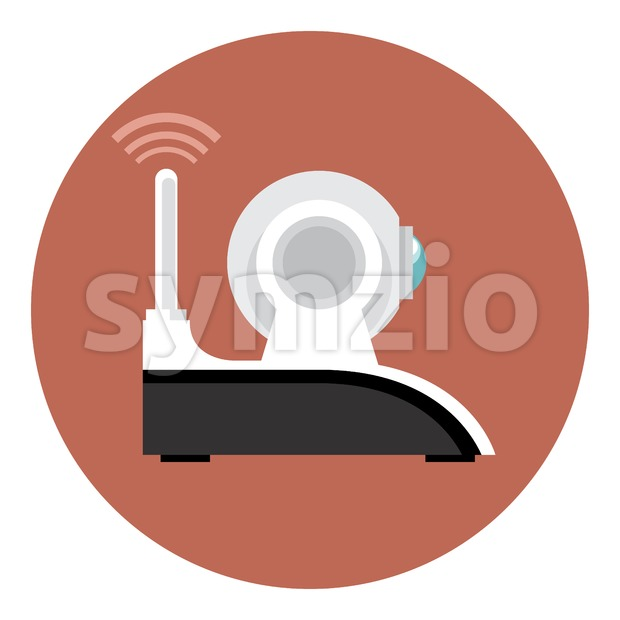 Digital vector white wi-fi and web camera with antenna icon, flat style. Stock Vector