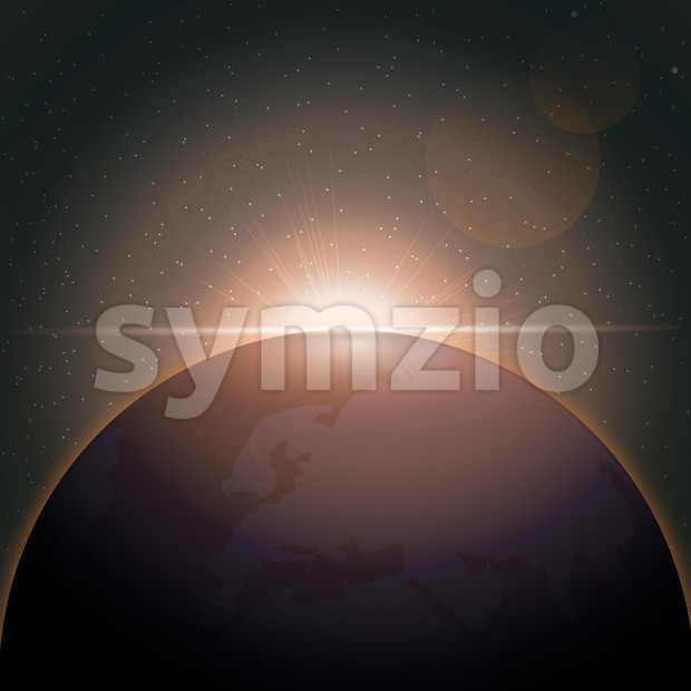 Digital vector planet earth icon with orange sun eclipse, over stelar background, flat style. Stock Vector