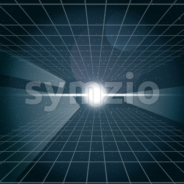 Digital vector cosmic white light and a grid in space, over stelar background, flat style. Stock Vector