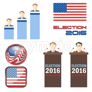 Digital vector election 2016 icon set with american flag, speakers, candidates, tribune and results over white background, flat style. Stock Vector