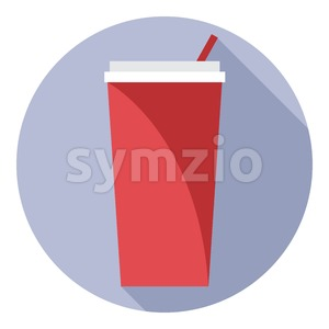 Digital vector red plastic soda drink can with straw in a purple circle, flat style. Stock Vector