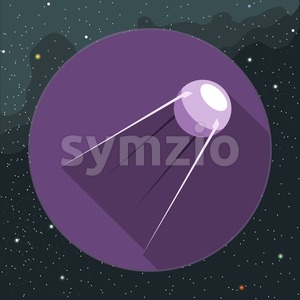 Digital vector with space satellite icon, over background with stars, flat style Stock Vector